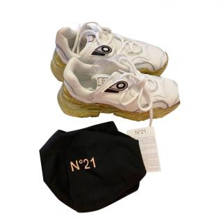 No21 White & Gold Chunky Sneakers