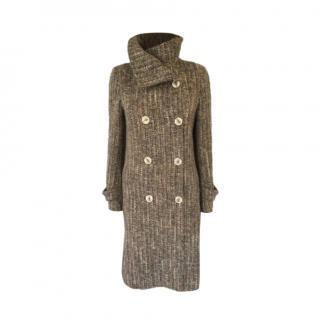 Joseph Boucle Wool Funnel Neck Knit Coat