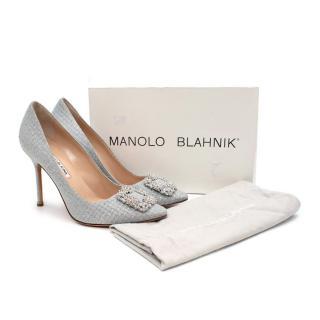 Manolo Blahnik Hangisi Woven Silver Glitter Pumps