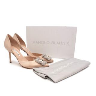Manolo Blahnik Hangisido Champagne Satin Pumps