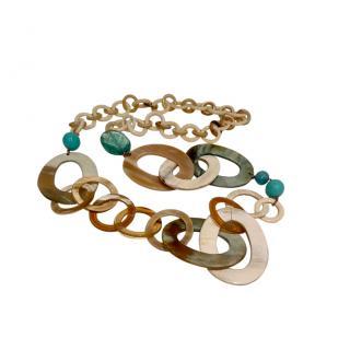 Bespoke tonal embellished horn long necklace