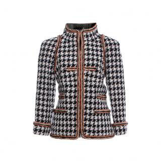 Chanel Houndstooth Metallic Trimmed Tweed High Neck Jacket