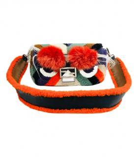 Fendi Fox Fur Trim Shearling Monster Crossbody Bag