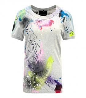 Dolce & Gabbana Grey Paint Splatter Limited Edition T-Shirt