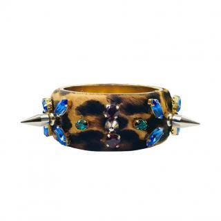 Dolce & Gabbana Spiked Leopard Calf Hair Bracelet