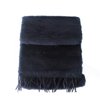 Max Mara Navy Teddy Camel, Wool & Silk Scarf