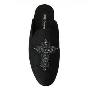 Dolce & Gabbana Black Embellished Slides