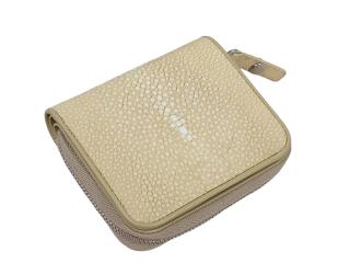 Hidetoshi Beige Stingray Compact Zip-Around Wallet