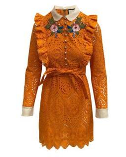 Gucci Sangallo Orange Embroidered Lace Dress