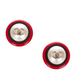 Chanel Vintage 90's CC Faux Pearl Clip-On Earrings