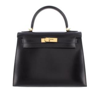 Hermes Black Box Calfskin Kelly Sellier 28 GHW
