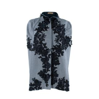 Nadya Shah Blue Grey Twill Cape with Floral Guipure Lace Applique