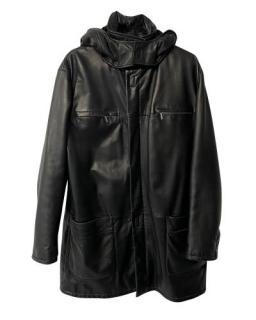 Versace Black Leather Hooded Coat
