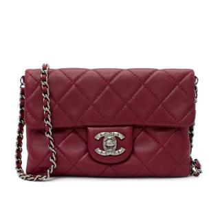 Chanel Burgundy Leather Diamond Quilted Mini Cross Body Bag