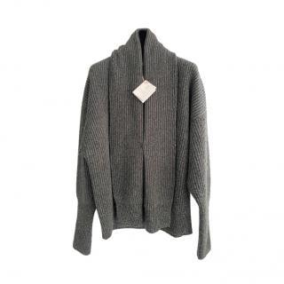 Brunello Cucinelli Grey Monili Bead Trim Lurex Knit Cardigan