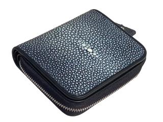 Hidetoshi Black Stingray Zip-Around Wallet