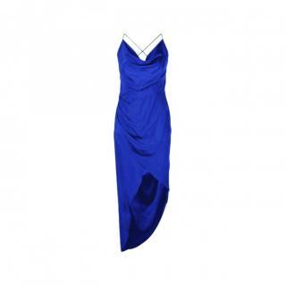 Haney Blue Silk Draped Holly Midi Dress