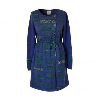 Chanel Blue & Green Embellished Cashmere Cardigan