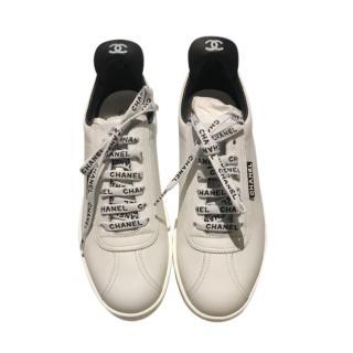 Chanel Black & White Logo Laces Sneakers