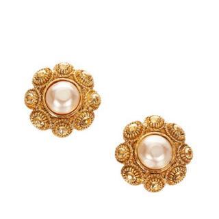 Chanel Vintage Faux Pearl Flower Clip-On Earrings