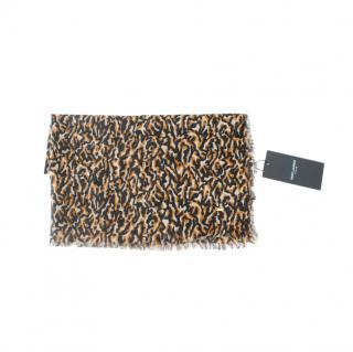 Saint Laurent Animal Print Wool Scarf