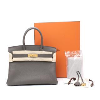 Hermes Togo Leather Etain Birkin 30 GHW