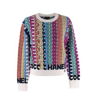 Chanel White Multicolour Cashmere Logo Intarsia Jumper