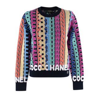 Chanel Navy Multicolour Cashmere Logo Intarsia Jumper