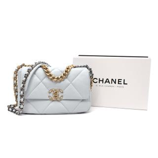 Chanel Powder Blue Lambskin Small 19 Shoulder Bag