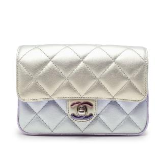 Chanel Lilac Iridescent Metallic Diamond Quilted Leather Minaudiere