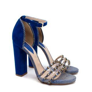 Elie Saab Royal Blue Suede Block Heels with Faux Snake Trim