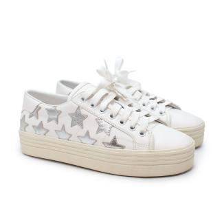 Saint Laurent White California Court Silver Star Leather Sneakers