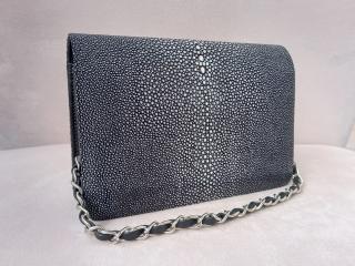 Hidetoshi Black Stingray Shoulder Bag