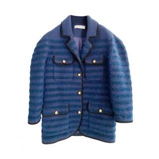 Philosophy Di Lorenzo Serafini Blue Striped Knit Coat