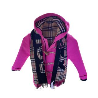 Burberry Pink Kids 6Y Duffle Coat & Logo Check Scarf