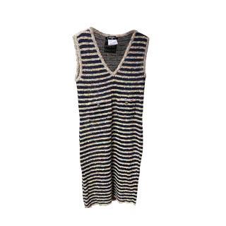 Chanel Black & Multicoloured Striped Tweed Sleeveless Dress