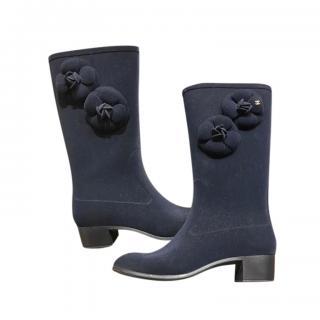 Chanel Blue Velvet Camellia Tall Boots