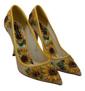 Dolce & Gabbana Sunflower Embroidered Mesh Pumps