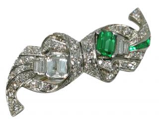 Bespoke Antique art deco Diamond, Emerald and Paste brooch