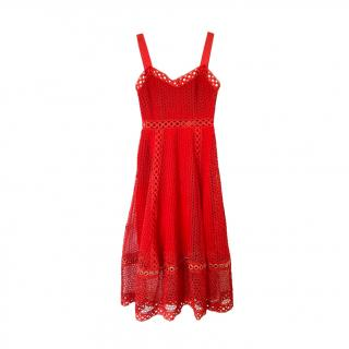 Maje Red Embroidered Crochet Sweetheart Dress
