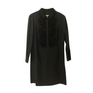 Burberry Black Lace Placket Silk Dress