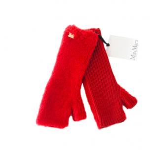 Max Mara Red Alpaca Knit Fingerless Gloves