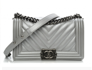 Chanel Metallic Silver Lambskin Chevron Boy Bag