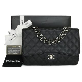 Chanel Caviar Leather Black Jumbo Classic Flap Bag