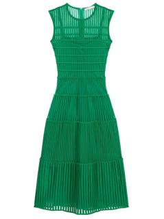 Maje Green Rayana Embroidered Midi Dress