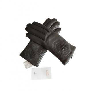 Hermes Chaine d'Ancre Embroidered Lambskin Gloves - Size 7