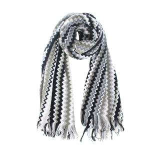 Missoni Monogram Zig Zag Wool Blend Knit Scarf