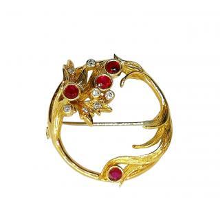 Bespoke 18ct Yellow Gold Vintage Ruby & Diamond Pin Brooch