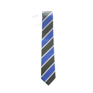 Gucci Blue & Khaki Wide Stripe SiIk Tie