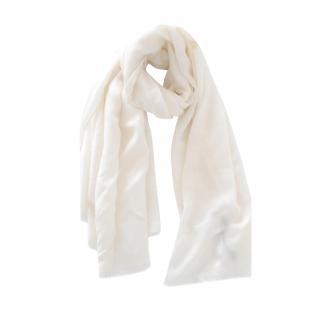 Max Mara Ecru Wool & Silk Scarf